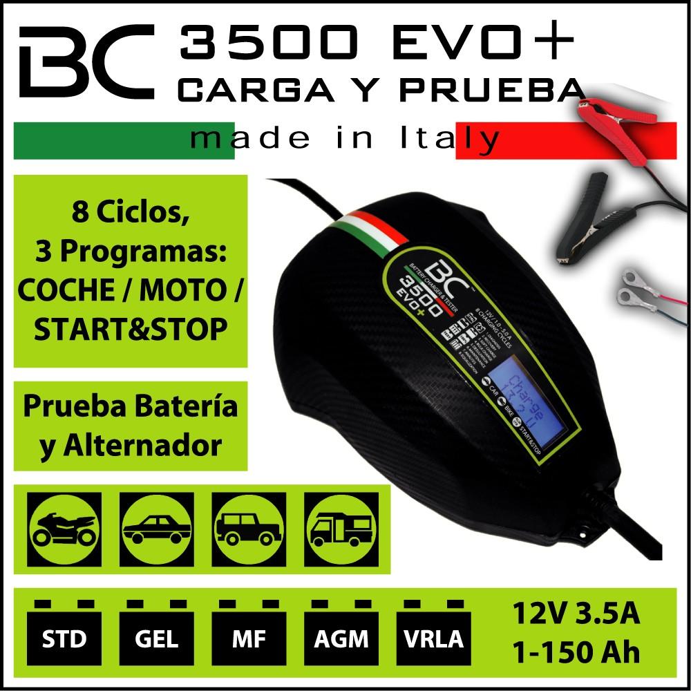 CARGADOR BC 3.500 EVO 12V (Para todo tipo vehiculos + comprobador de baterias)