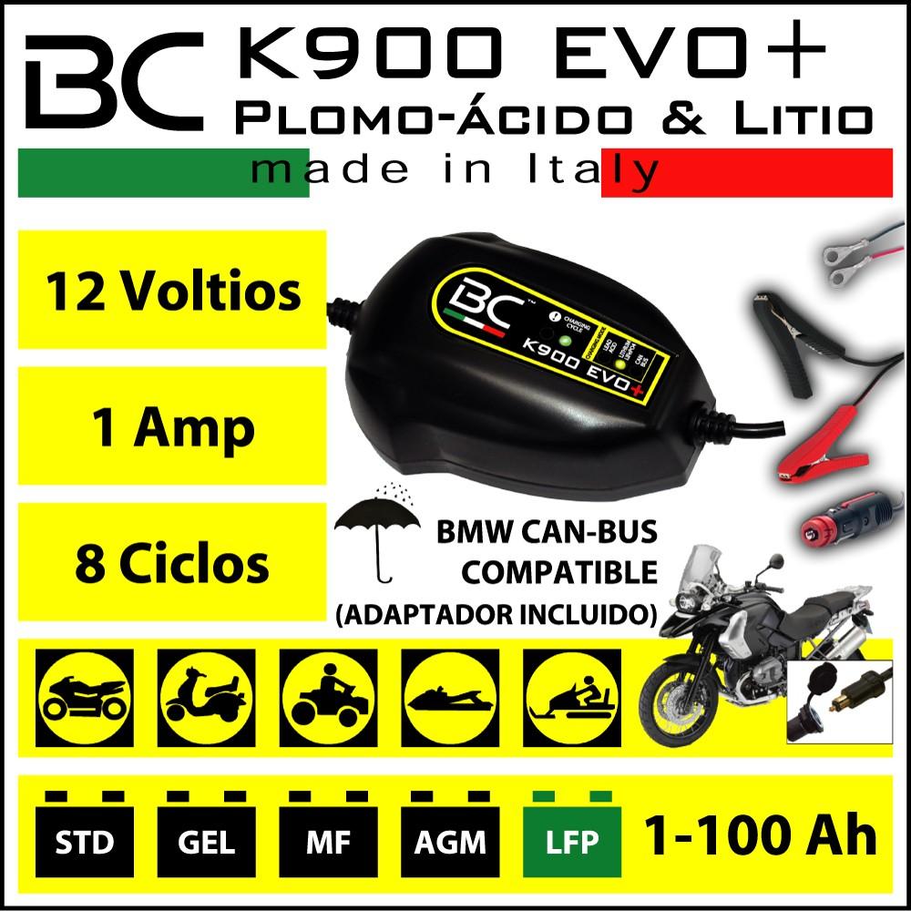 CARGADOR BC K900 EVO 12V CAM-BUS + Bat. Plomo acido y Litio | Incluye cable conector mechero.
