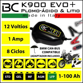 CARGADOR BC K900 EVO 12V CAM-BUS + Bat. Plomo acido y Litio | Incluye cable conector mechero.